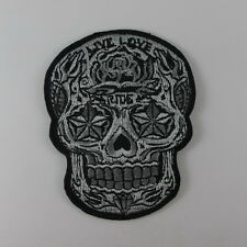 SKULL  LIVE LOVE RIDE EMBROIDERED SEW IRON ON PATCH MOTOCYCLE T-SHIRT JEAN
