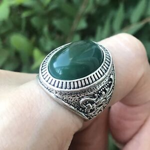 Men Turkish Hand Made Green Resin Cab Dragon Repousse Silver Tone Ring Size 11