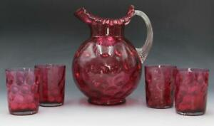Vintage Fenton Cranberry Coin Dot Glass Pitcher & 4 Tumbler Glasses