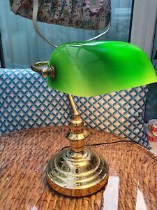 Desk Lamp Green Glass Shade Bankers Traditional 60s Home Gambling Lloytron Prop