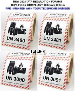 Lithium Ion Metal Battery Hazard Labels 100x100 UN 3480 3481 3090 3091 WITH TEL