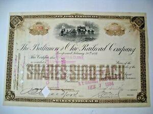 1894 Baltimore & Ohio Railroad Company Stock Certificate.