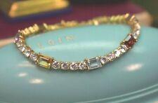 "Vintage 925 sterling vermeil amethyst garnet topaz citrine cz bracelet 7.25"""