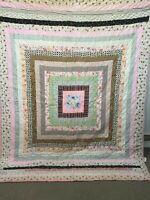 Vintage Handmade Hand Tied Patchwork Cotton Quilt 64 x 84 Multicolors Squares