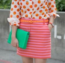 J Crew S 4 Pink Orange Stripe Embroidered Skirt Excellent Career Casual Mini $88