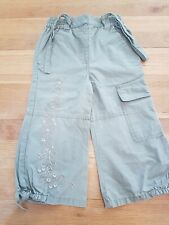 Girls Khaki Green combat style Trousers 18-24 Months From Mothercare. Flower
