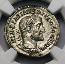 NGC AU. Maximinus I. Exquisite Denarius. Ancient Roman Silver Coin.
