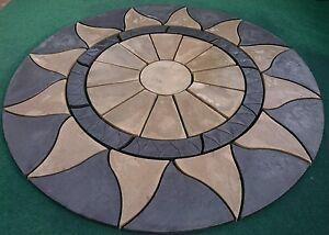 Aztec sun circle garden patio paving