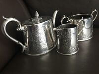 Antique Victorian James Deakin & Sons Silver Plated Teapot, Creamer & Sugar Bowl
