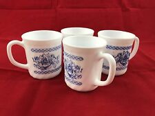 ARCOPAL FRANCE HONORINE Blue and White Floral Roses Coffee Cup Mugs
