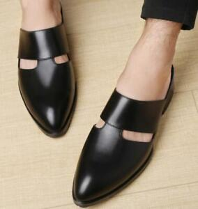 Mens Real Leather Slippers Shoes Pointy Toe Slip on Slingbacks Loafers Dress New