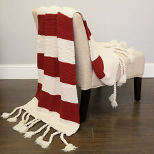 "Acrylic Knit Throw Blanket Vintage Two Color Stripe w/Tassels 50""x60"" Red"