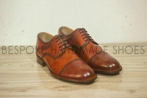 Chaussures à lacets Oxford en cuir marron véritable faites à la main pour hommes