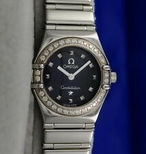 Ladies Omega Constellation Watch - Diamond Bezel - Black Dial - 1465.51