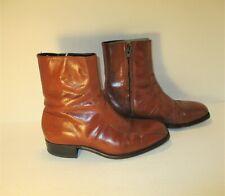 Vintage Florsheim Imperial Men's London Tan Leather Zip Beatle Boots-Sz-6.5Eee