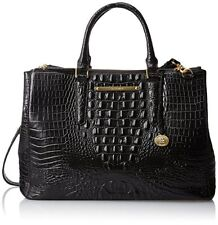 ❤BRAHMIN LINCOLN SATCHEL BLACK CROC LEATHER BUSINESS BRIEF WORK BAG ~ FINLEY❤