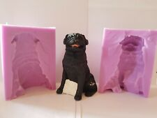 3D LARGE PUG SILICONE MOULD FOR CAKE TOPPERS, CHOCOLATE, CLAY