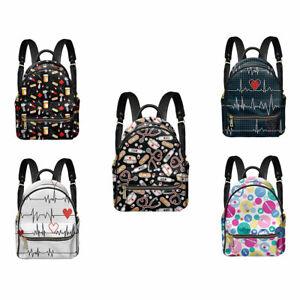 Nurse Print Leather Backpack Women Luxury Travel Backpack Purse Schoolbag Bags