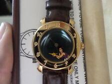 Disney Aladdin animated GENIE on Dial Gold Tone Bezel Watch NIB
