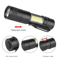 6000LM XPE+COB LED Flashlight 4 mode Zoomable Pocket Clip Torch Light AE