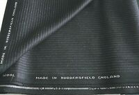 100%  English wool fabric suit length 3.20m very dark navy blue pinstripe