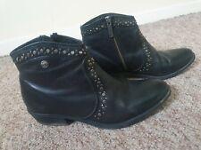 Black Leather Studded Embellished Wrangler Cowboy Ankle Boots Size 5 (38)