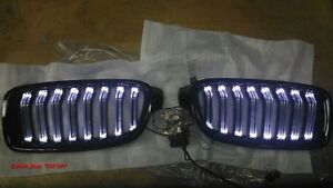 GLOSS BLACK FRONT KIDNEY GRILLE WITH WHITE LED BMW F30 F31 F35 3 SERIES 2012-ON