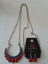 Paparazzi red and blue beads necklace and earring set