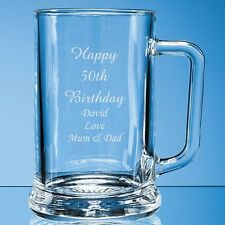 Personalised Engraved Pint Glass Tankard 18th 21st 30th 50th Birthday 60th Gift