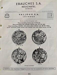Valjoux 72 72c 88 chronograph vintage watch original 1953 6pg Parts Repair Guide