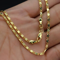 """1PC 16-30"""" 18K Yellow Gold Filled Link Flat Chain Necklace Jewelry For Pendant"""