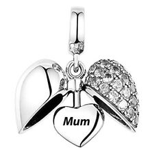 💖💖 Mum I Love You Heart S925 Sterling Silver Charm Mother Mam Clear CZ Gift 💖
