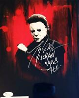 TONY MORAN SIGNED 8X10 METALLIC PHOTO MICHAEL MYERS HALLOWEEN JSA COA 468