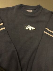 Genuine NFL Denver Broncos Football Knit Sweater Men Size XL Navy New Embroidery