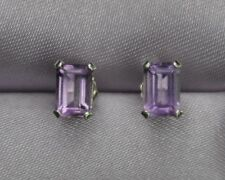 BEAUTIFUL 6MM X 4MM EMERALD CUT AMETHYST STERLING SILVER STUDS  1.25 CTW