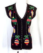 vtg Bobbie Brooks euc COLORFUL Ugly Christmas Sweater Vest Dangling Ornaments L