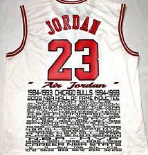 NWT * VINTAGE MICHAEL JORDAN CHICAGO BULLS NBA CAREER STATS/AWARDS REEBOK JERSEY