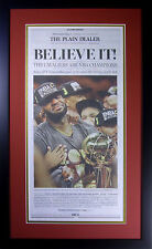 """Cleveland Cavaliers """"Believe It"""" 1st edition newspaper cover framed. Brand New!"""