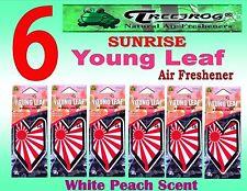 6 Packs Treefrog Sunrise YOUNG LEAF Car Air Freshener WHITE PEACH Scent.JDM