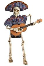 "39"" Animated Stitting Skeleton with Guitar Plays ""La Bamba"" Halloween Decor"