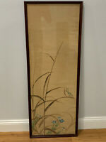 Antique Chinese or Japanese Signed Painting on Silk Praying Mantis Flowers Dec.