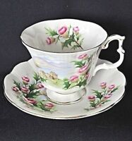 Royal Albert China Scenic Road To The Isles Gainsborough Footed Teacup Set VGC