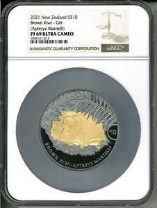 2021 New Zealand $10 Kiwi Proof 5 oz Silver Coin w/Gold NGC PF 69 - 350 Made
