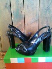 Charles David Black With Metallic Grey Snake Print Heel Size 7 MSRP $134.95