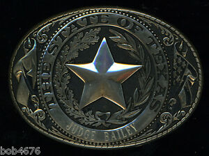 """AWESOME GOLD Tone Seal of Texas Belt Buckle engraved with """"Judge Bailey"""" Texana"""