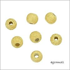 20x Gold Plated Sterling Silver Stardust Finish Round Spacer Beads 3mm #97758
