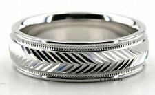 SOLID 18K WHITE GOLD MENS WEDDING BAND RING SHINY MILGRAIN 6MM