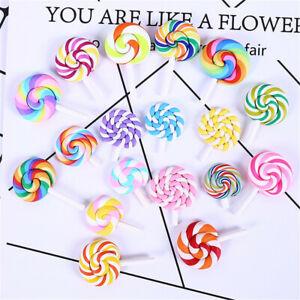10 pcs Multi-colors Polymer Clay Cabochons Flatback Lollipop Craft Decorations