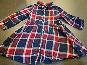 girls 9-12 months tartan check long sleeve polo shirt tunic dress clothes next d