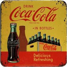 Coca Cola Yellow Blech Untersetzer 9 x 9 cm Metall Tin Sign USE40
